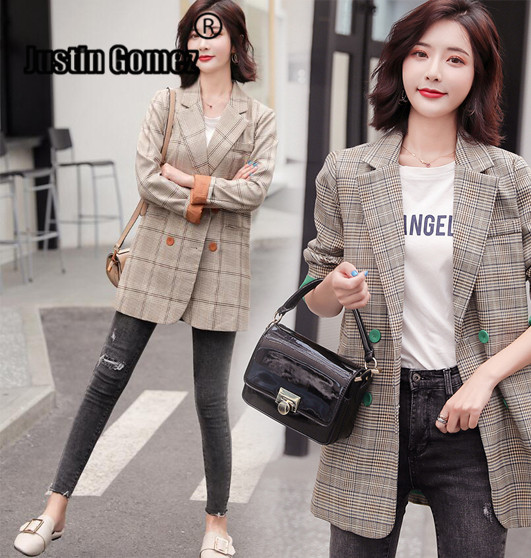 Plaid Blazer Vintage Double-breasted Women's Classic Suit Retro Classic Casual Wear Slim Long Sleeve Office Work Woman Suit