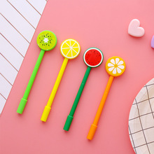 цена на South Korea small fresh and lovely fruit fountain pen student creative stationery sign pen 0.5mm black gel pen