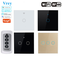Vrey WIFI Smart Touch Switch, APP ไร้สายระยะไกลสวิทช์ทัชสกรีน, แผงคริสตัลแก้วคริสตัลทำงานร่วมกับ Alexa/Google Home