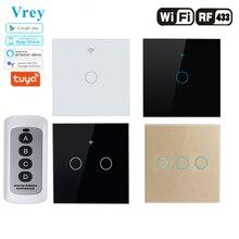 Vrey wifi 스마트 터치 스위치, app 무선 원격 조명 터치 벽 스위치, 크리스탈 유리 패널, alexa/google 홈으로 작동
