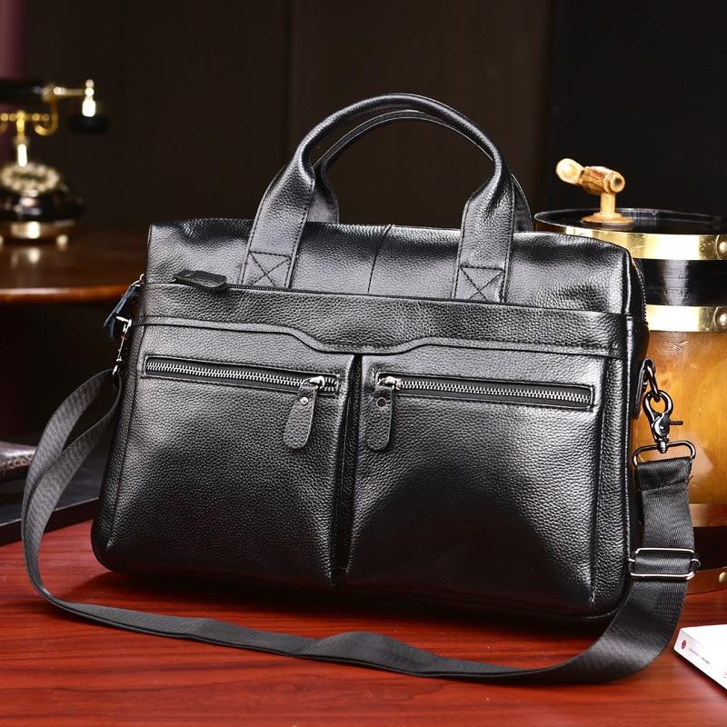 Fashion Men's Bag Genuine Leather Briefcase Men Handbags Business Computer Bag Cow Leather Shoulder Messenger Bag Man Laptop Bag