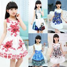 цена на Kids Dress Summer 2020 Dresses Girls Dresses Floral Print Teenager Girl Party Dress For 6 8 10 12 Year Children Kids Clothes
