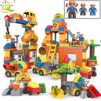 183pcs Duplo Diy Big Engineering Consrucion House Building Blocks  Kids Figures Bricks for Kids