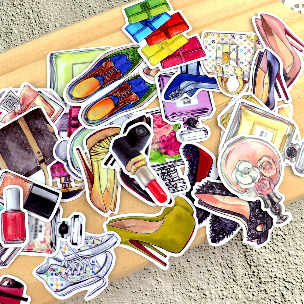 35pcs Watercolor Beauty  Perfume Sticker Shoes Cute Planner Stickers Scrapbooking Decoration/waterproof Pegatinas Stationery