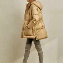 Amii Winter Women Elegant Down Coat Casual Solid Loose Hooded Female Do