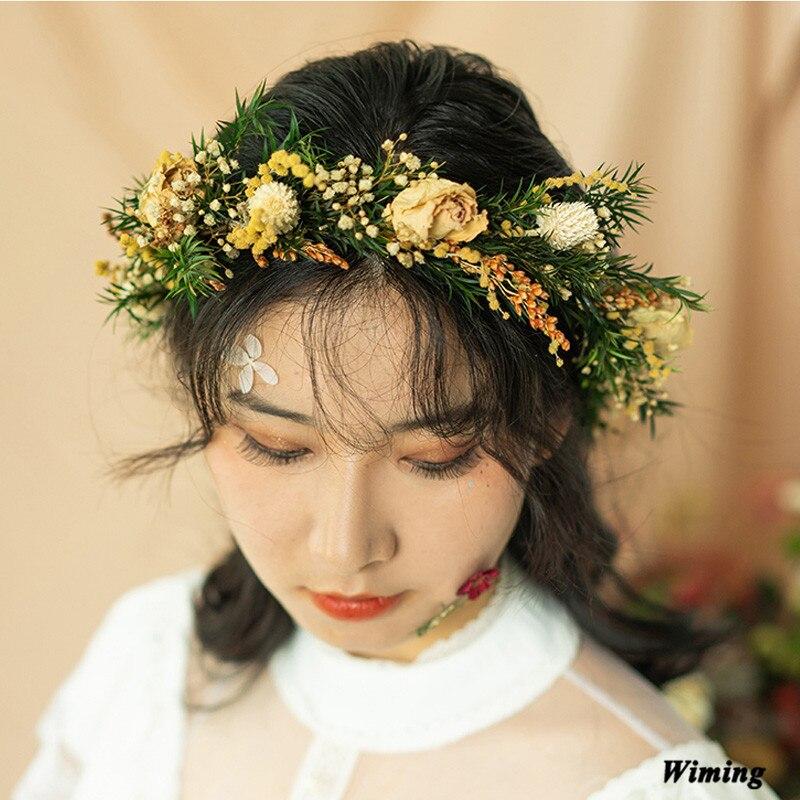 artificial bridal headband fake Flowers Wreath festive party supplies photo props girls Women Wedding headwear