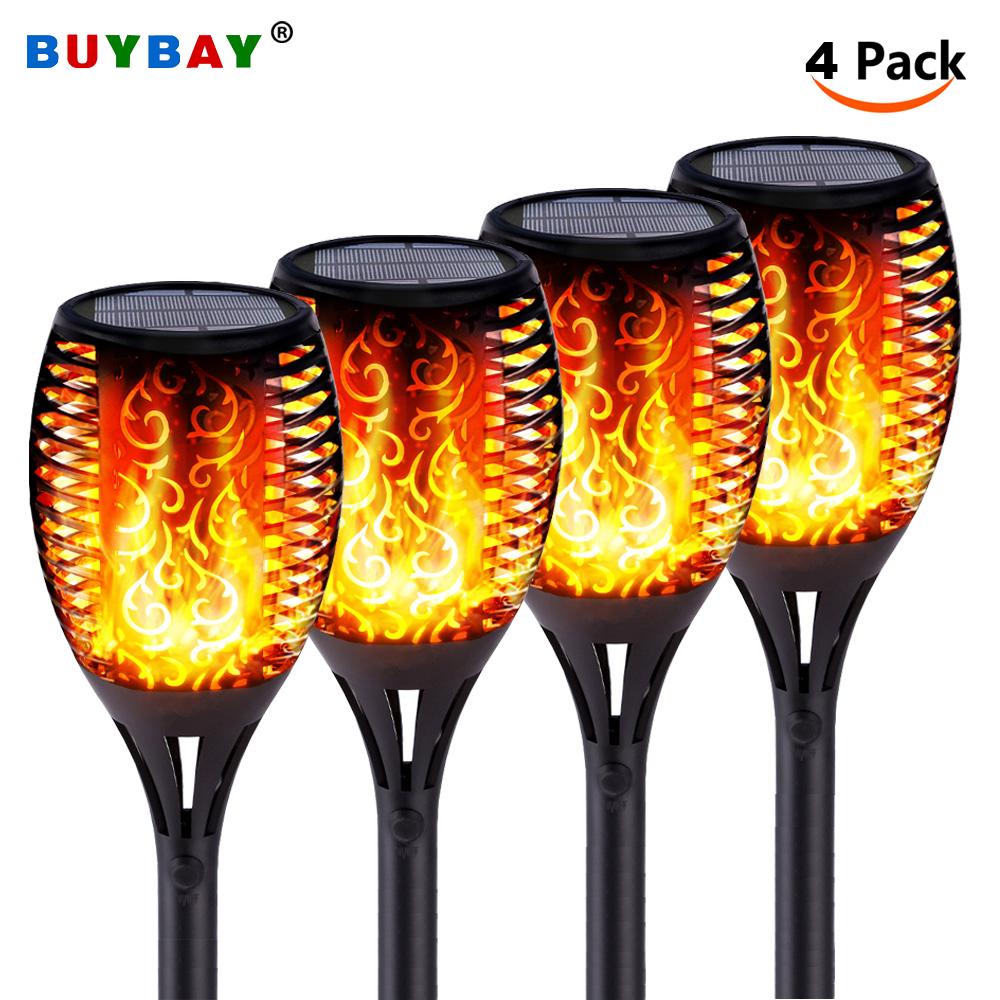 LED Solar Flame Lights Outdoor Led Solar Garden Light IP65 Waterproof Dancing Flame Torches Lamp For Courtyard Garden Balcony