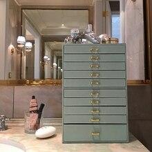 الجلود متعددة طبقة 10 طوابق مجوهرات قلادة على شكل صندوق سوار أقراط الطوق صندوق تخزين المجوهرات مربع التشطيب درج نوع عرض