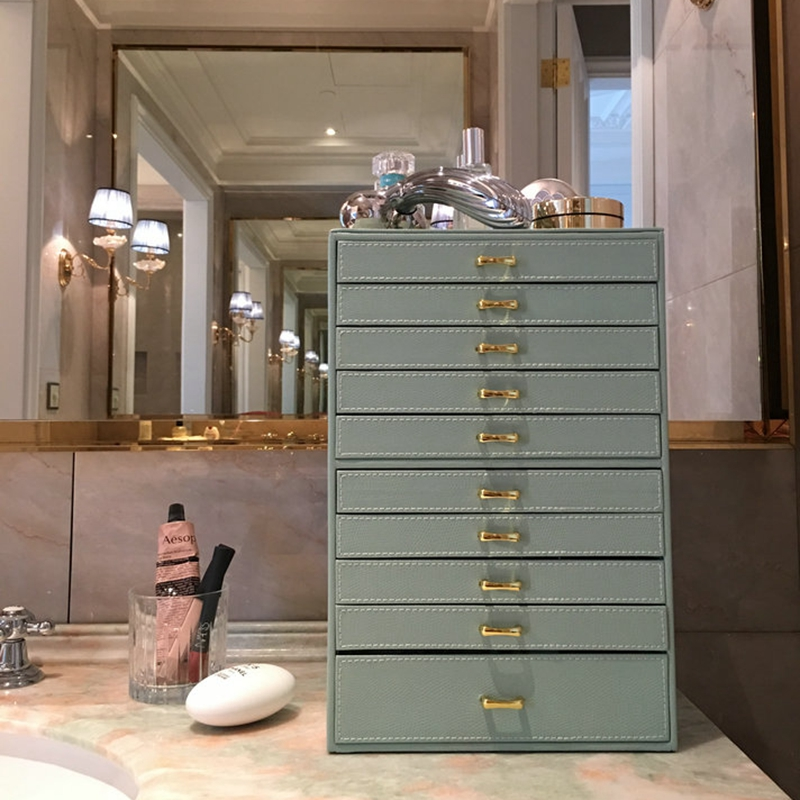 Leather Multi-Layer 10 Floors Jewelry Box Necklace Bracelet Earrings Ring Storage Box Jewelry Finishing Box Drawer Type Display