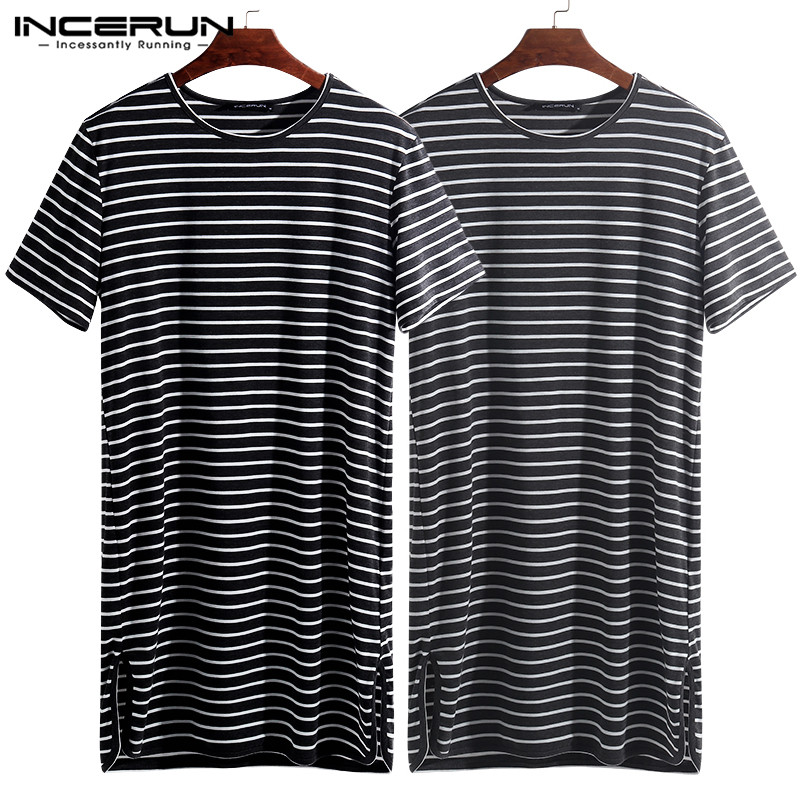 INCERUN 2020 Striped Men Sleepwear Sleep Tops O Neck Short Sleeve Loose Tee Tops Sleep Leisure Comfortable Men Homewear S-5XL