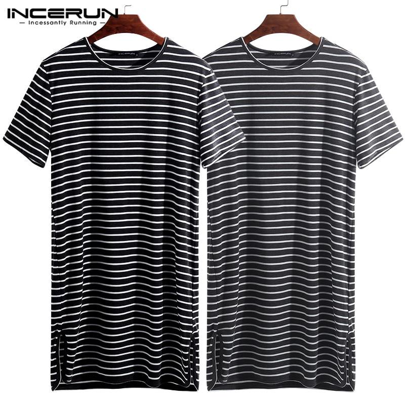 INCERUN 2020 Striped Men Sleepwear Sleep Tops O Neck Short Sleeve Loose Tee Tops Sleep Leisure Comfortable Men Homewear S-5XL