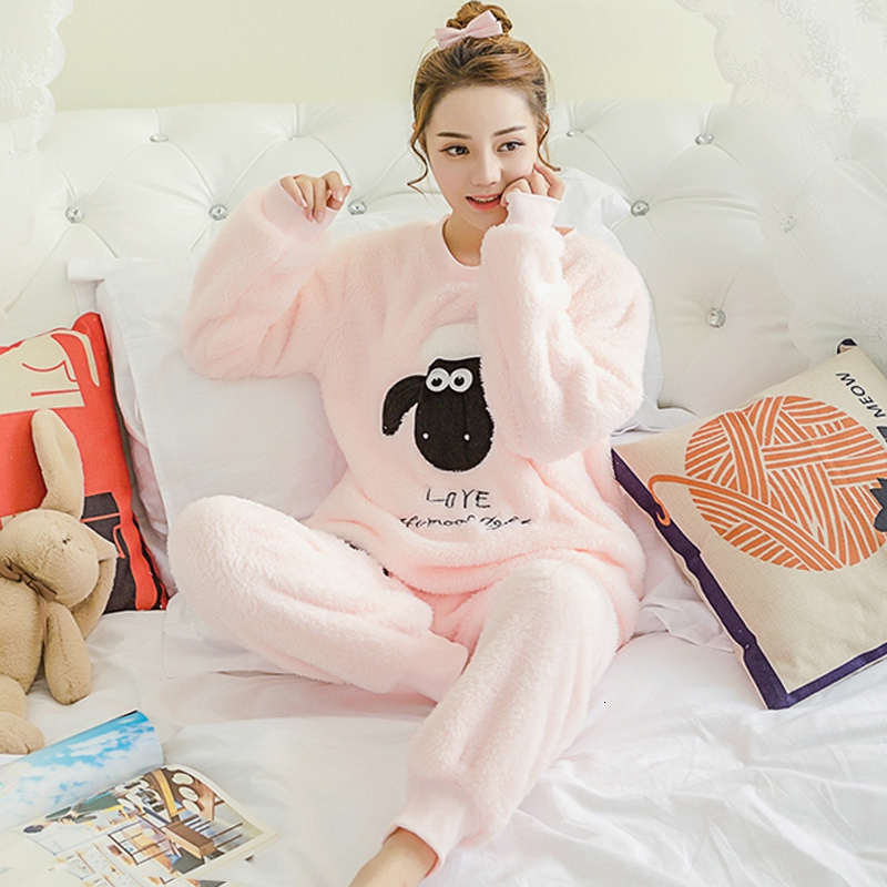 Pyjamas Women Winter Pajamas Set Women Sleepwear Warm Flannel Long Sleeves Pajamas Pink Cute Animal Homewear Thick Home Suit