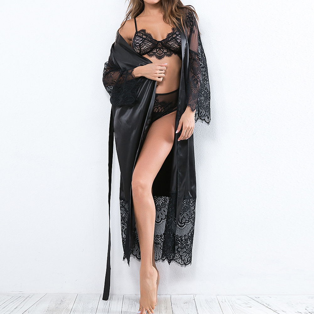 Women Sexy Lingerie Robe Lace Long Sleeve Bathrobes Lady Solid Homewear Sleepwear Modern  Mujer Belt Deep V Nightgown Robes