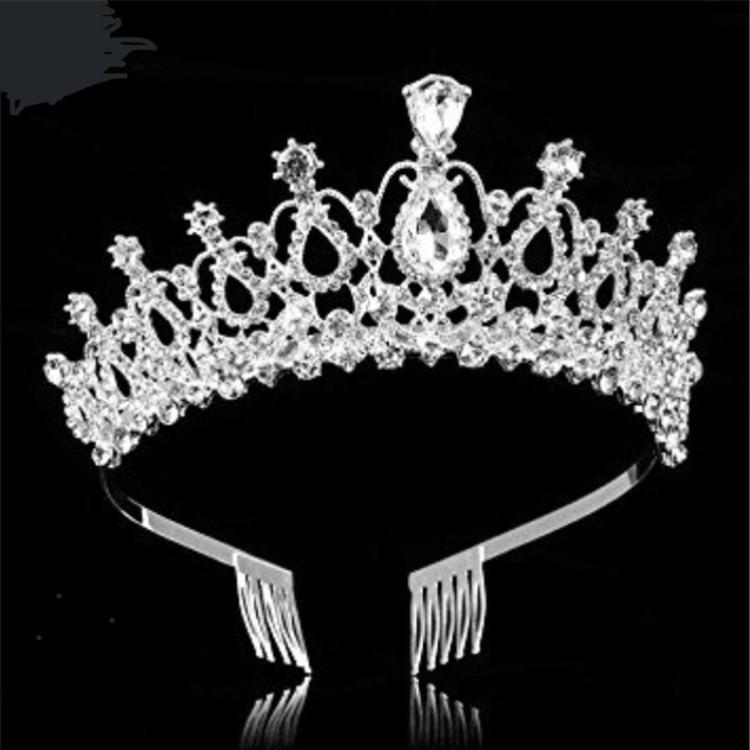 White Luxury Pearls Rhinestones Flower Girls/' Crown Tiara Headpiece Headdress