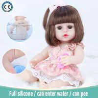Muñeca realista de cuerpo de vinilo de silicona suave para niñas, juguete de cuerpo de silicona suave de 37cm que puede bañarse y orinar, el mejor regalo de cumpleaños de Navidad