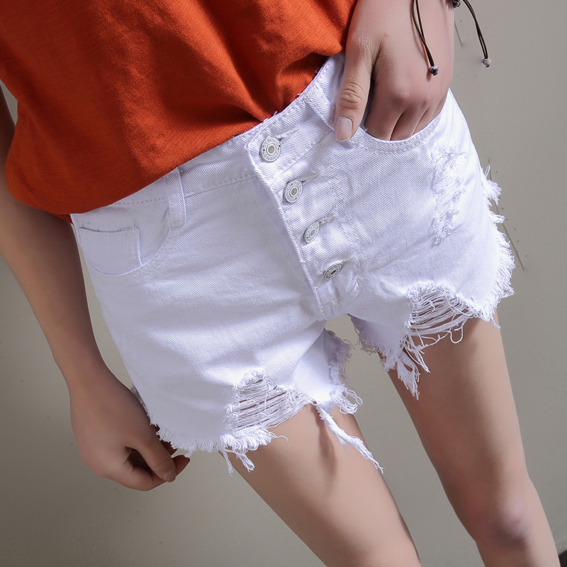 2018 Summer High-waisted Denim Shorts Women's Slimming Loose Pants Students Cowboy Hot Pants With Holes Large Size Shorts