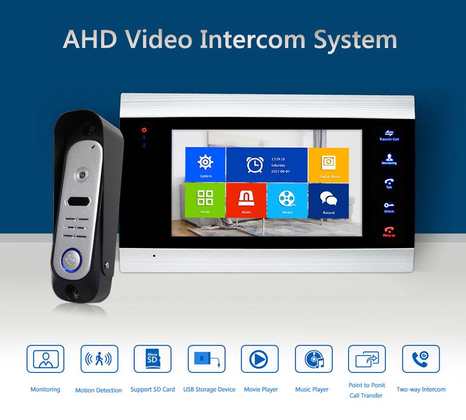 HD Video Doorphone Motion Detection Video Record Doorbell Waterproof IR 720P AHD Camera Villa Intercom System