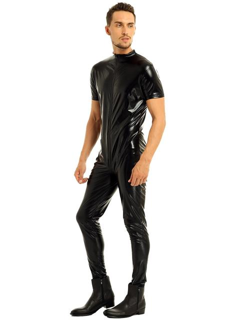iEFiEL Mens Stretchy Faux Leather Short Sleeves Zipper Crotch Full Body Leotard Bodysuit Clubwear Overalls for Evening Party 5