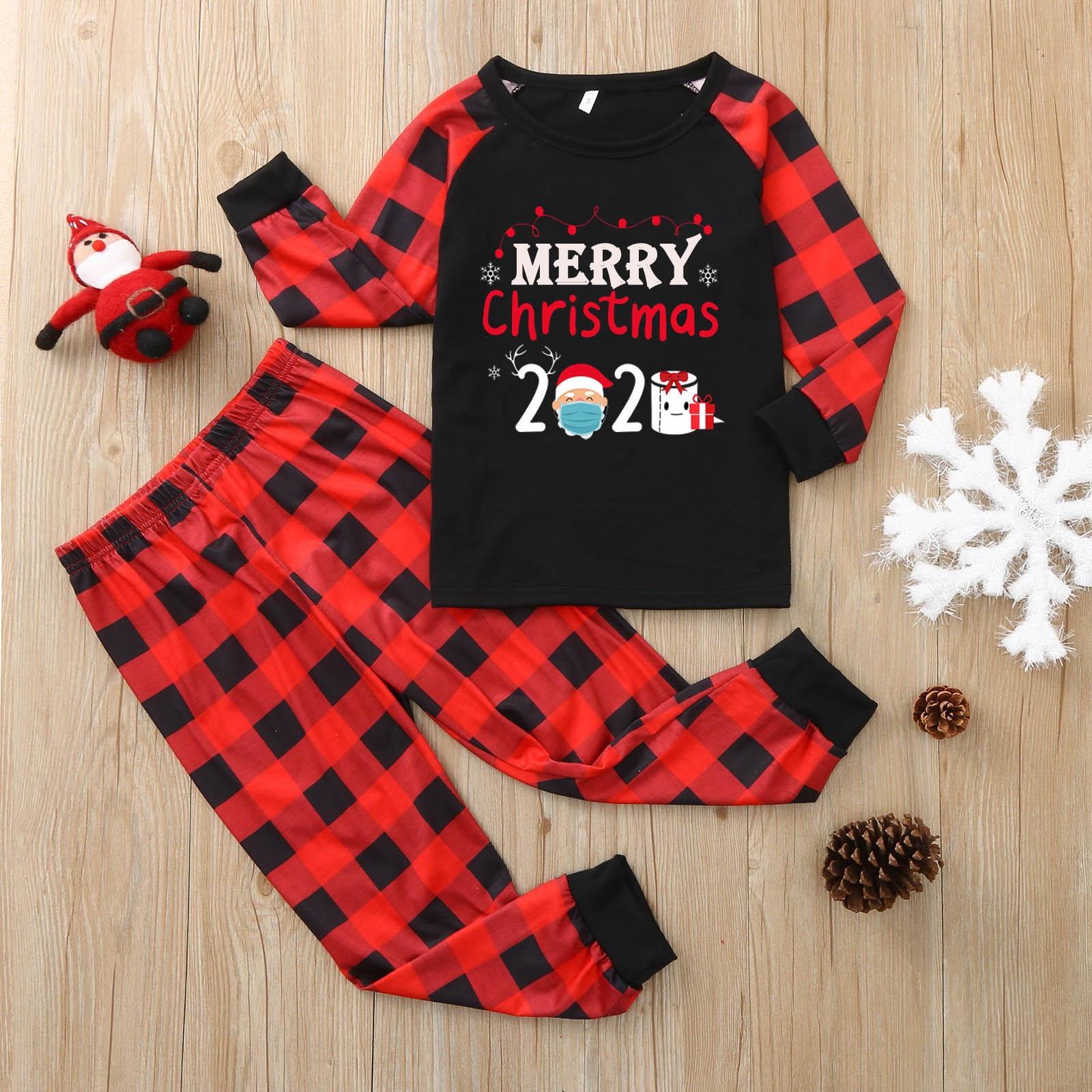 Enfant cadeaux de noël 2020 joyeux noël impression rouge treillis pyjamas deux pièces élastique bande pantalon Parent-enfant costume pyjamas