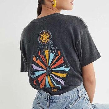 Camisetas gráficas Vintage para mujeres 2020 de algodón negro de manga corta Rock N Roll Band camisetas Casual camiseta retro Tops de verano
