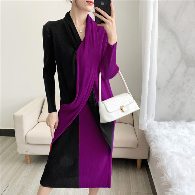 Elegant Pleated Dress Women  Hit Color Patchwork Slim Cross Design  3