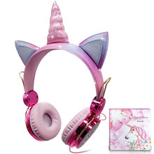 Cute Kids Girl Unicorn Headphone With Microphone Bling Bling Diamond Wired Headphones