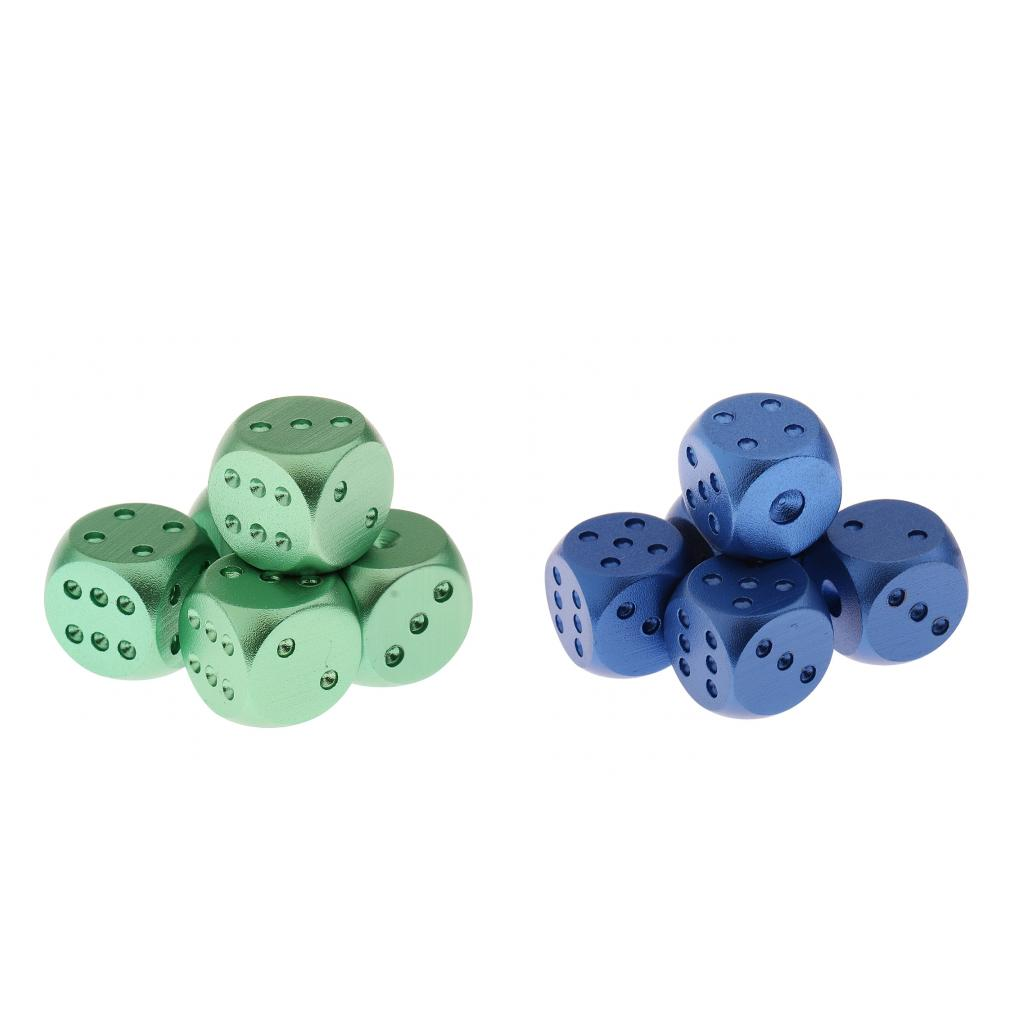 10pcs Alloy Dices for Party Adult Gambling Game Casino Supplies Green & Blue