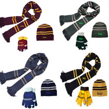 3 sztuk Cosplay szalik Slytherin/Hufflepuff paski szaliki słodkie okłady odznaka osobowości Cosplay dzianiny haftowany kapelusz rękawiczki