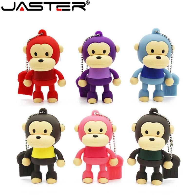 JASTER Cartoon 6 Color Monkey USB 2.0 4GB 8GB 16GB 32GB 64GB 128GB Mini Cute Memory Stick Pendrive Creative Animal U Disk