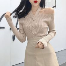 Women Retro Solid Color Sexy Long Sleeved Off-shoulder Knitwear Sweater Slim Tops