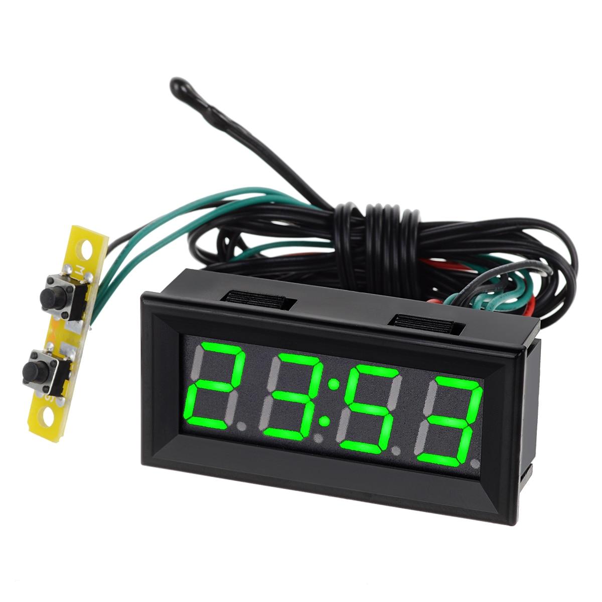 0 56 Green LED Clock Voltage Temperature 12V Digital Display Thermometer Voltmeter Electrical Test Meters Digital