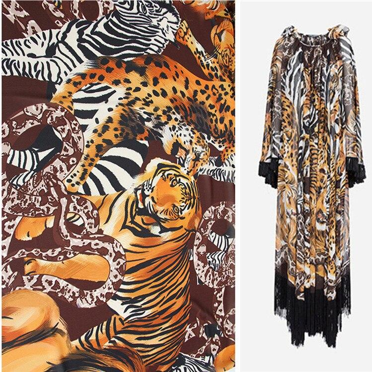 Animal Tiger Markings Polyester Printed Chiffon Fabric See-through Clothing Shirt Brand Cloth for Dress Fabrics Per Meter Sewing