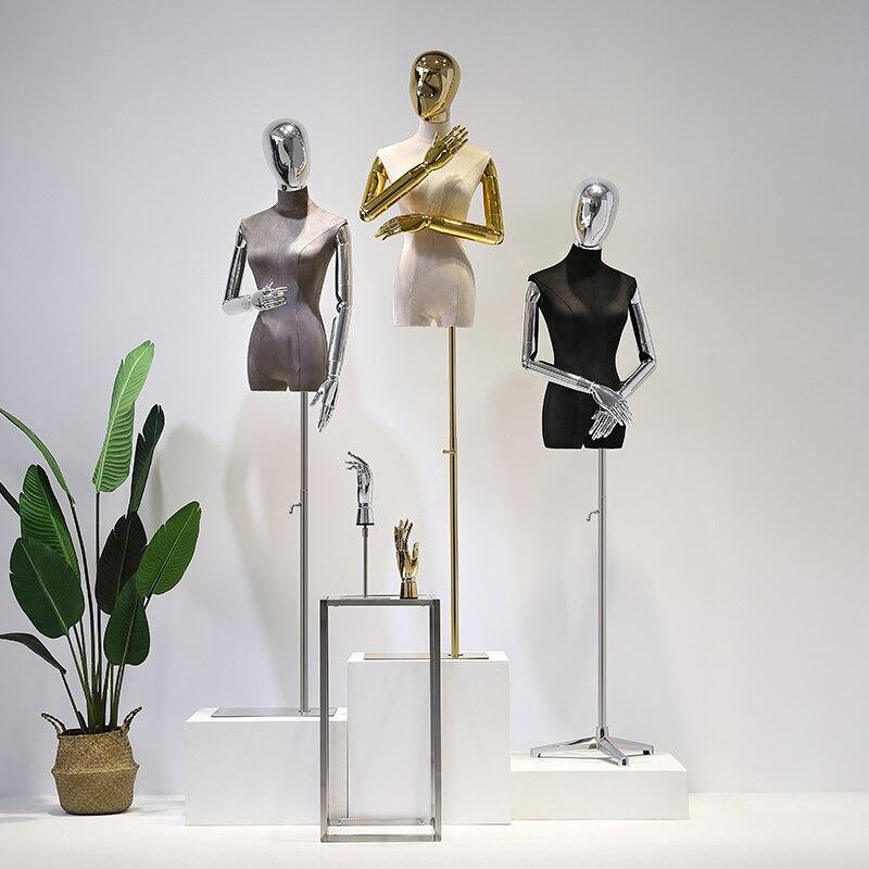Высококачественный замшевый манекен, женская модель средней длины, полный корпус, искусственная человеческая личность, гальваническая гол...