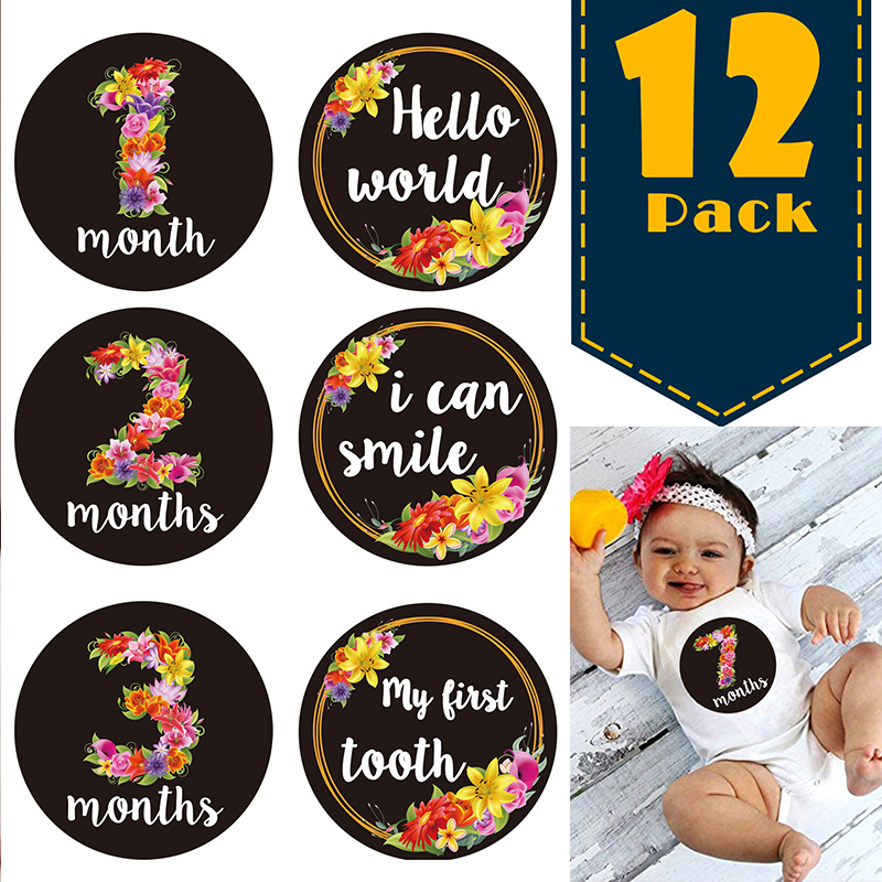New Cute Flower Newborn Monthly Stickers 12Pcs/set DIY Commemorative Photo Props Baby Toddler Growth Scrapbook Album Photo Prop