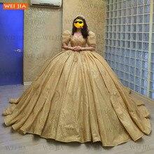 Arapça altın Abiye kadınlar için dantel Up Robe De Soiree 2021 kabarık balo parti elbise resmi Dubai Abiye gece Elbisesi
