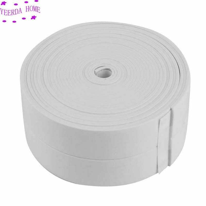 6 rolo novo banheiro chuveiro pia do banho fita tira de vedação pvc branco auto adesivo à prova dwaterproof água adesivo parede para cozinha do banheiro