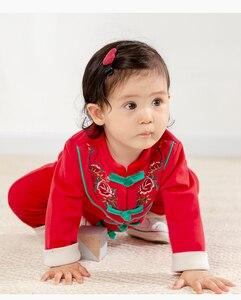 Новинка 2021, детская одежда на китайский новый год, костюм Тан, комбинезон с длинными рукавами и принтом в виде замка для маленьких мальчиков и девочек, комбинезон для младенцев, теплая одежда
