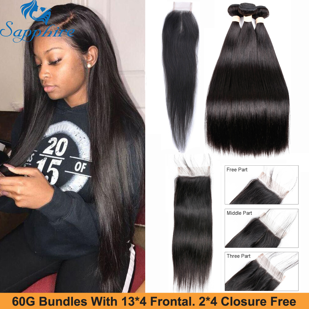 Sapphire Peruvian Straight Hair 3 Bundles Remy Human Hair Extensions With 4*4 2*4 Lace Closure Weave Bundles With 2PCS Closure