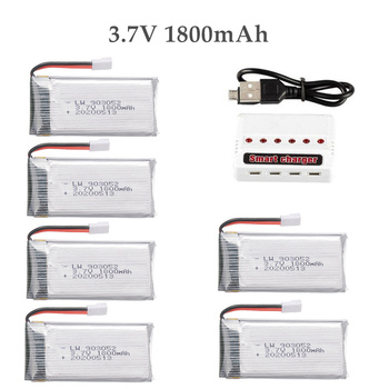 6pcs 3.7v 1800mAh lipo Battery Charger for KY601S SYMA X5 X5S X5C X5SC X5SH X5SW M18 H5P for 3.7V Helicopter Drone Battery image
