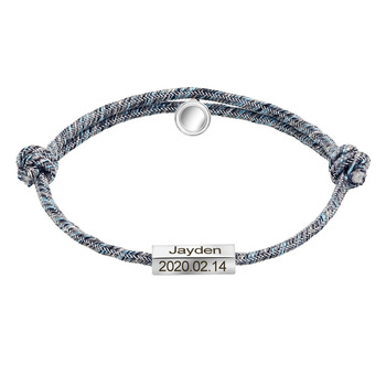 Custom Name Birthday Bracelets For Men Women Children Adjustable Survival Rope Chain Leather Bracelet Luxury Jewelry Gift 2020 genuine leather braid rope chain bracelet for men