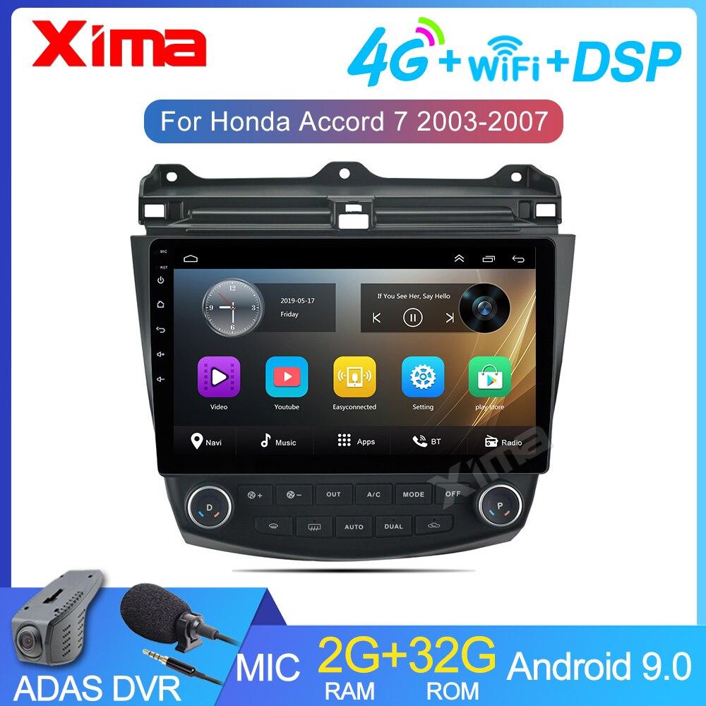 XIMA 2 Polegada Android 9.0 GB de Ram 2 Rádio Do Carro Din 10 7 Multimedia Player Para Honda Accord 2003-2007 2 Din DVD Rádio de Navegação GPS