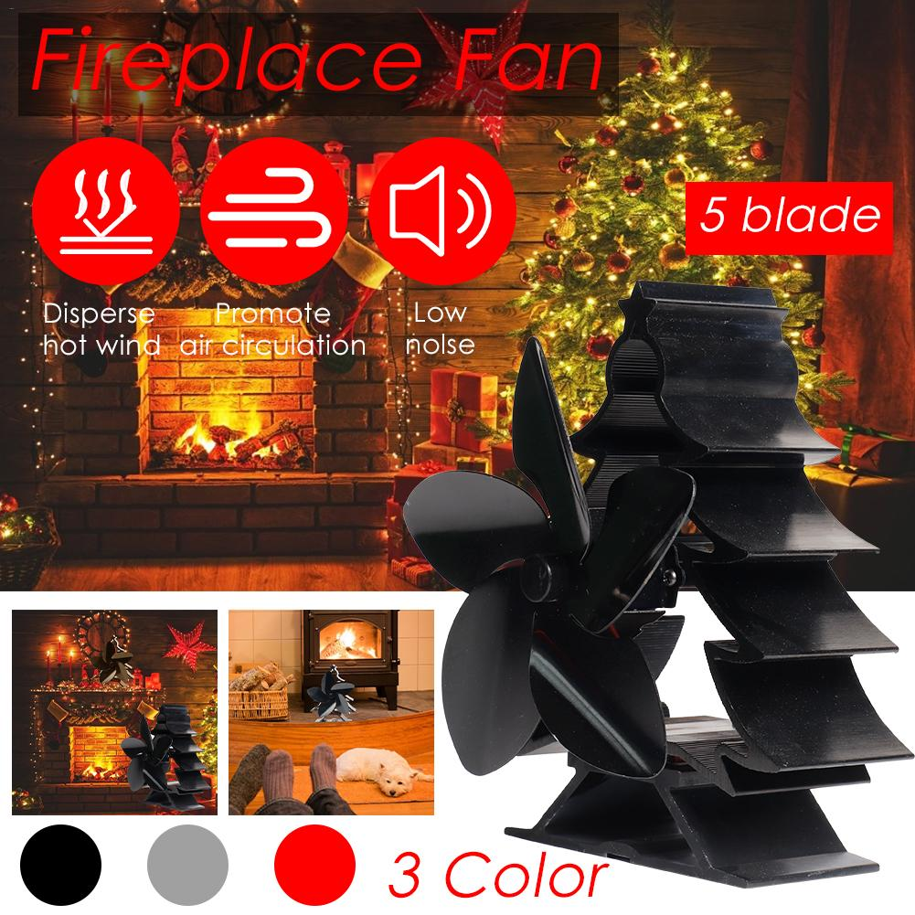 Christmas Tree Color High Temperature Heat Fireplace Fan No Electricity Smart Energy Saving Heat Powered Stove Fan Home Suppiles