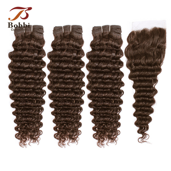 BOBBI COLLECTION Brazilian Deep Wave Hair Color 4 Dark Brown 3/4 Bundles with Lace Closure Non Remy Human Hair Weave 10-24 inch