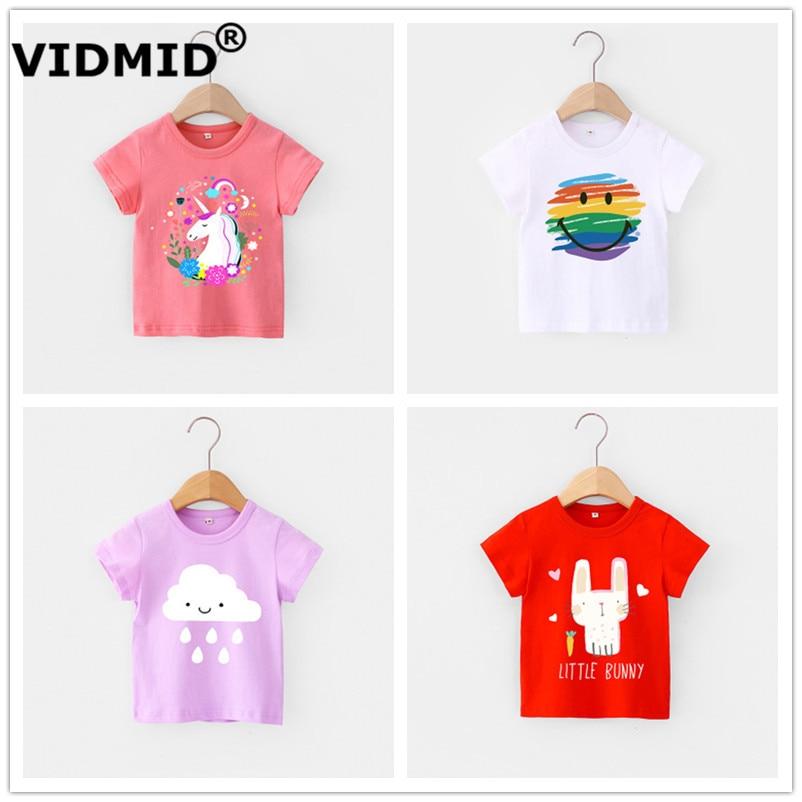 VIDMID Children Summer Clothing Girls Short Sleeve Tees Tops Clothes Kids Cartoon Print T-shirt Baby girl cotton T-shirt 4018 04 1