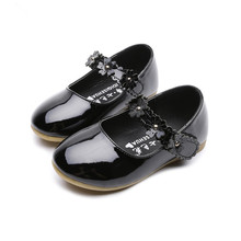 1-7T Baby Girls Shoes Flower Kids Princess Cocktail Party Wedding Dress Leather White Black Pink