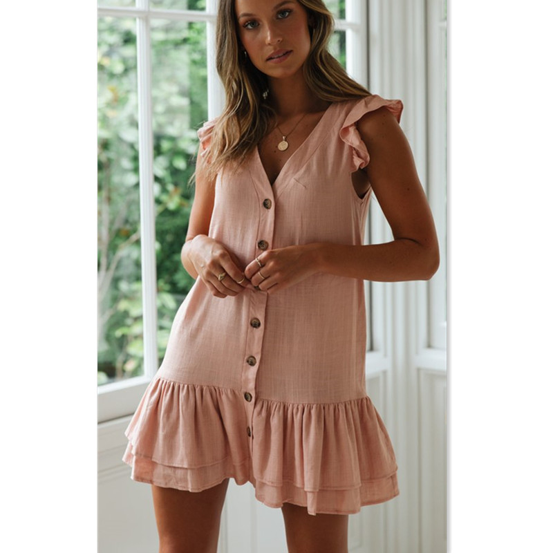 Summer Casual Dresses 2019 new Women Solid Sleeveless V Neck Button Loose Short