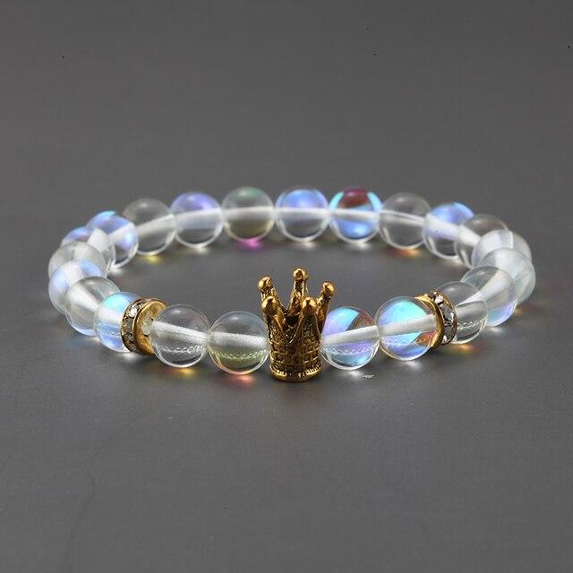 Glass Bead Bracelet for Men steel Gold Crown Beads Accessories Womens Bracelets Boho Wristband Couple Bracelet Friends Gifts