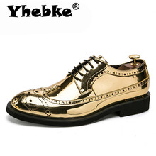 Brand Men Dress Shoes gold Glitter Men F