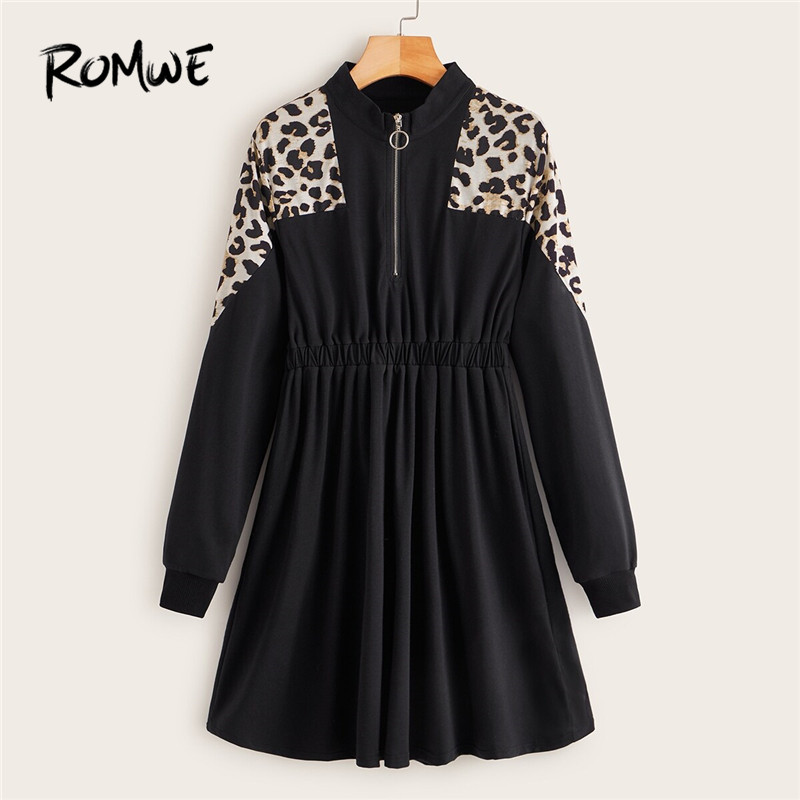 ROMWE Half Zip Contrast Leopard Print Sweatshirt Dress Women Casual Stand Collar Long Sweatshirt Elastic Waist Fall Black Dress