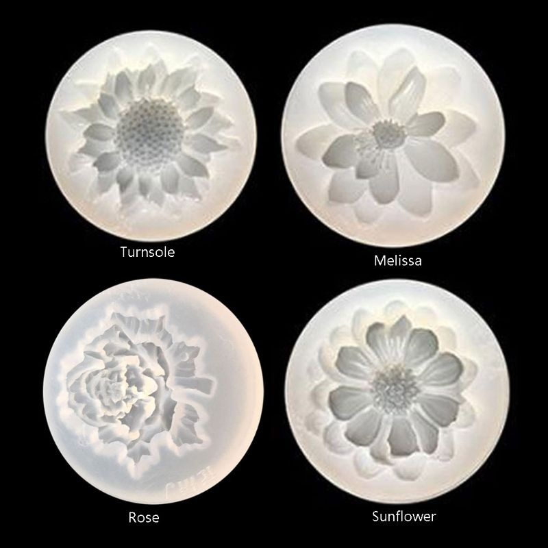 4Pcs Flower Epoxy Resin Mold Kits  Camellia Sunflower Rose Mold Jewelry Making